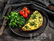 Рецепта Спаначен омлет с яйца и кашкавал